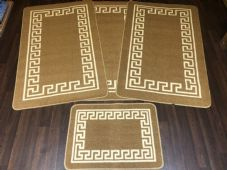 ROMANY GYPSY WASHABLES NON SLIP SETS OF 4 MATS/RUGS BEIGE/CREAM STUNNING MATS